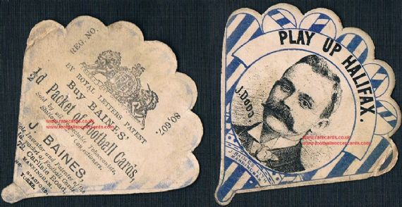 1880s Jimmy Dodd Halifax rugby RLFC Hall of Fame inductee baines fan-shape card